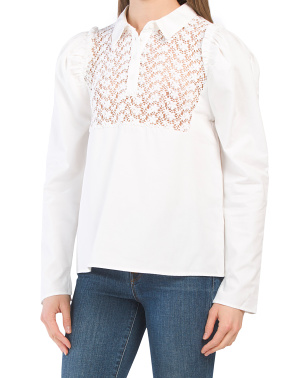 Long Sleeve Top With Lace Inset