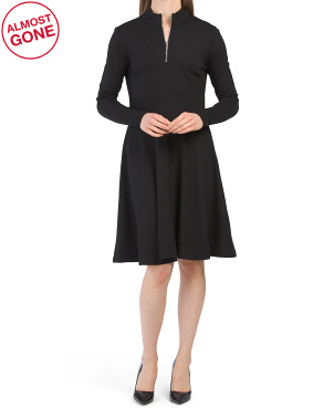 Mock Neck Fit And Flare Ponte Dress