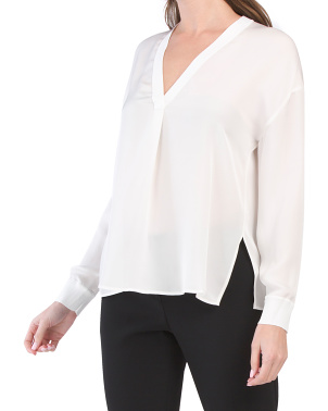 V-neck Rib Trim Silk Top