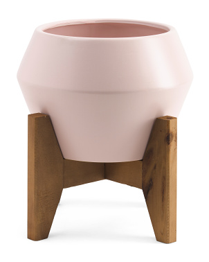10in Ceramic Planter On Wood Stand
