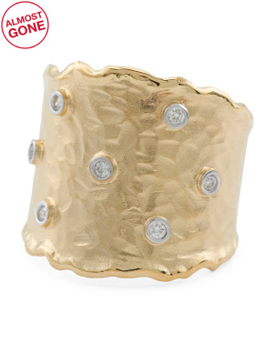 Handmade In Israel 14k Gold And Diamond Cigar Band Ring