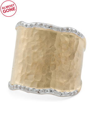 Handmade In Israel 14k Gold And Diamond Cuff Band Ring