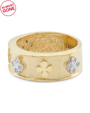 Handmade In Israel 14k Matte Gold Diamond Clover Band Ring