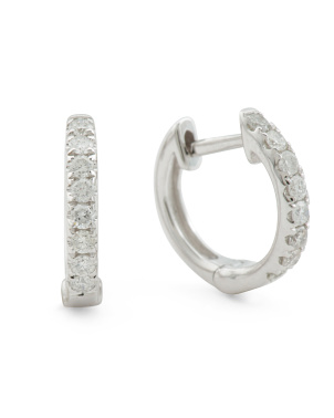 14k White Gold Diamond 0.24 Tcw Diamond 12mm Hoop Earrings
