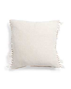 20x20 Linen Pillow With Tassels