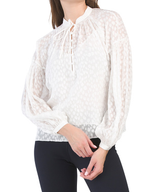 Silk Blend Smocked Peasant Top