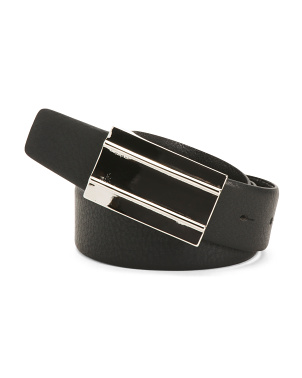 Made In Italy Plaque Buckle Leather Belt