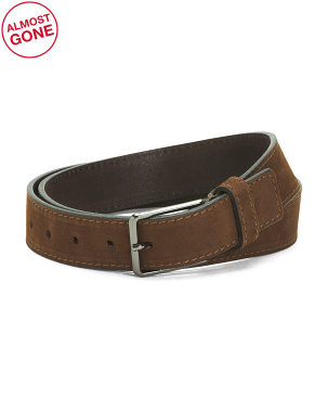 Made In Italy Gunmetal Buckle Leather Belt