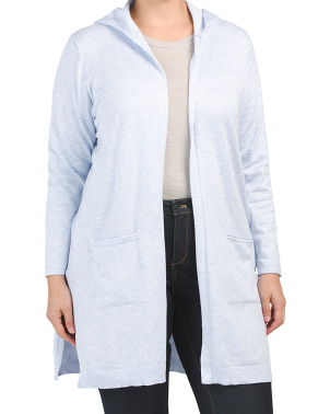 Plus Open Cardigan With Hood And Pockets