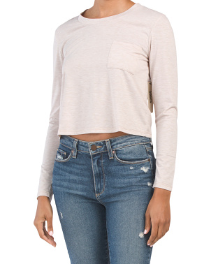 Juniors Long Sleeve Crew Neck Crop Top