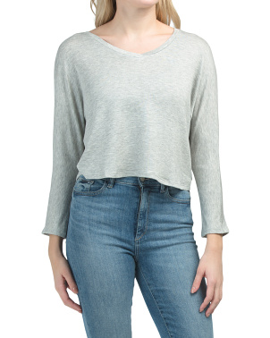 Juniors V-neck Dolman Hi-lo Cropped Top
