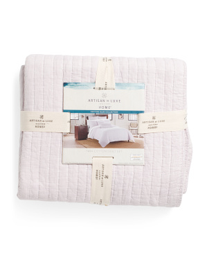 Heathered Slub Channel Rice Quilt Set