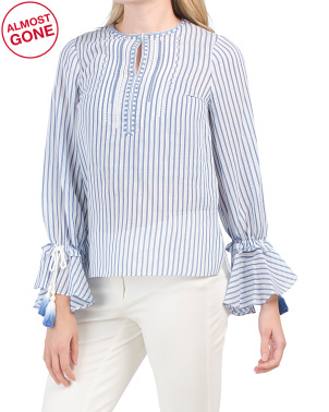 Stripe Peasant Blouse With Tassels