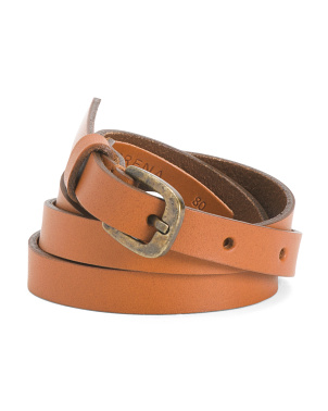 Leather Skinny Plain Belt