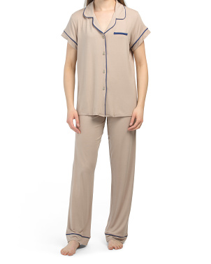 Short Sleeve Piped Notch Pj Set