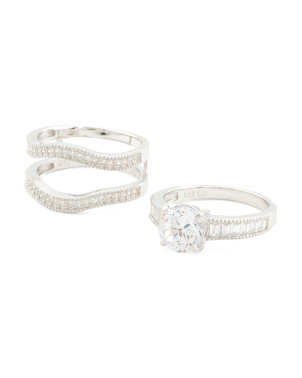 Sterling Silver Set Of Two Cz Stacking Rings