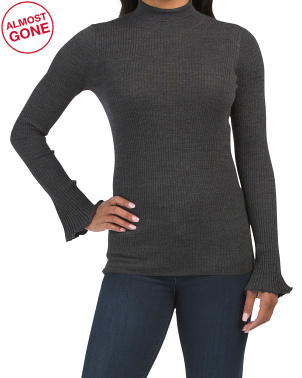 Petite Ribbed Wool Sweater With Bell Sleeves