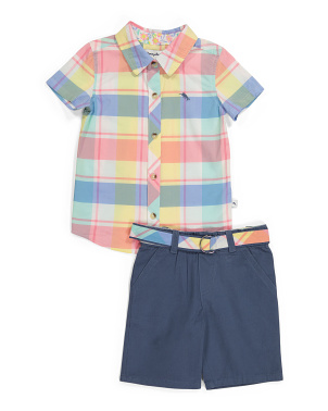 Toddler Boys 2pc Plaid Woven Short Set With Belt