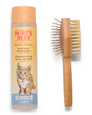 10oz Tearless Kitten Shampoo And Double Sided Brush