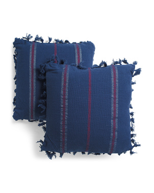 20x20 2pk Stripe Fringe Pillows
