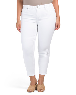 High Waist Recycled Sateen Ankle Jeans