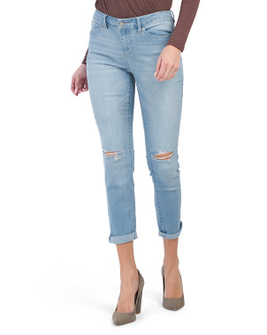 High Waist Recycled Denim Destructed Girlfriend Jeans