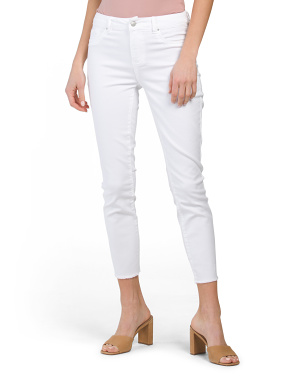 High Waist Frayed Ankle Jeans