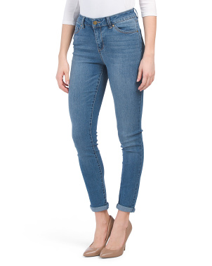 High Waist Recycle Baby Roll Cuff Skinny Jeans