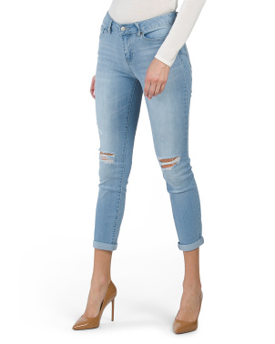 High Waisted Recycled Denim Destruction Girlfriend Jeans