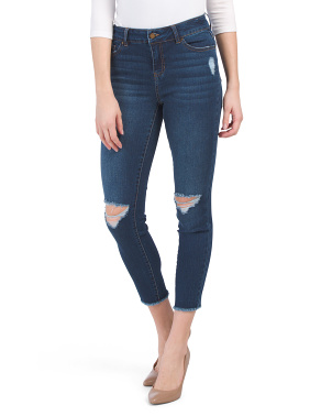 High Waist Recycled Fray Hem Destructed Jeans
