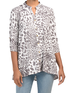 Long Sleeve Animal Print Tunic Top