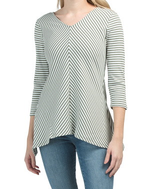 Three-quarter Sleeve Striped Ribbed Top