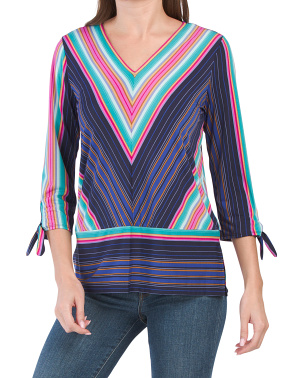 Tie Sleeve Striped Top