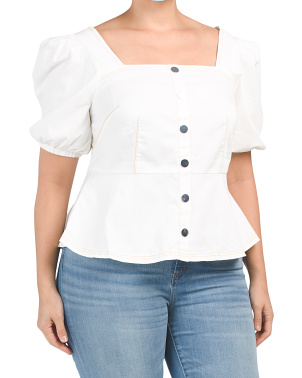 Plus Peplum Top With Button Detail
