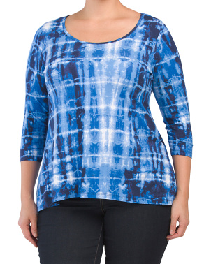 Plus Tie Dye Three-quarter Sleeve Scoop Neck Top