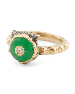 Made In Italy 18k Gold Diamond And Jade Ring