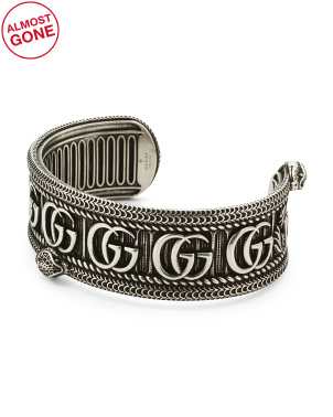 Made In Italy Sterling Silver Gg Marmont Snake Cuff Bracelet
