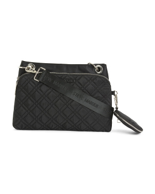 Nylon Quilted Crossbody With Earbud Case