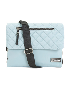 Nylon Quilted Flap Crossbody