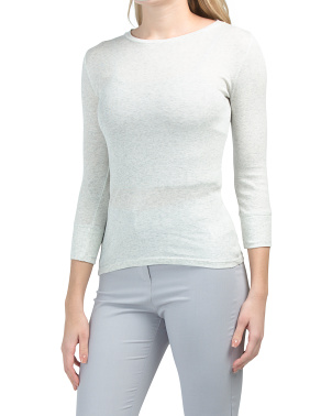 Pima Cotton Elbow Sleeve Crew Neck Top