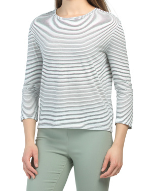 Pima Cotton Skinny Stripe Three-quarter Sleeve Top