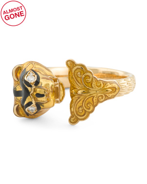 Made In Italy 18k Gold Diamond And Enamel Tiger Ring