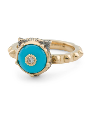 Made In Italy 18k Gold Diamond And Turquoise Ring