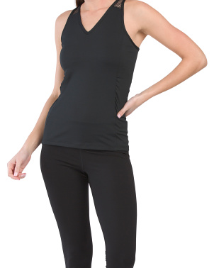 V-neck Tank With Mesh Yoke And Shirring