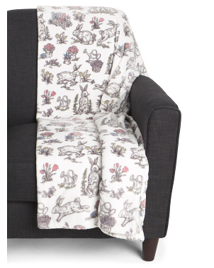 Springtime Bunny Toile Throw