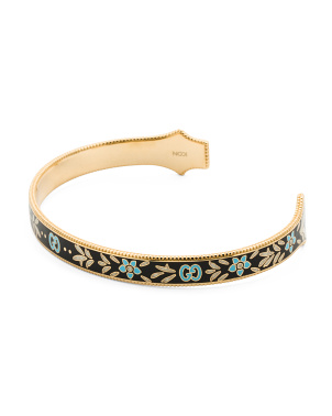 Made In Italy 18k Gold Icon Bloom Enamel Cuff Bracelet