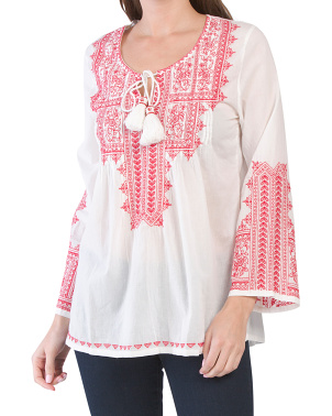 Embroidered Long Sleeve Cotton Top