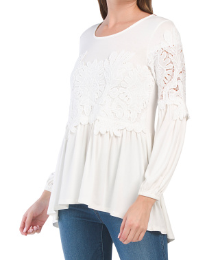 Long Sleeve Lace Baby Doll Top