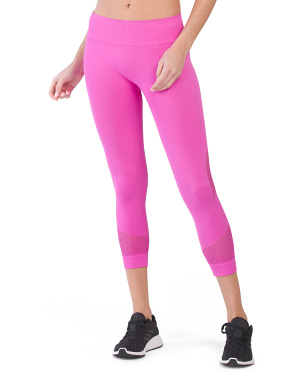 High Waist Network Cropped Leggings With Mesh Insert