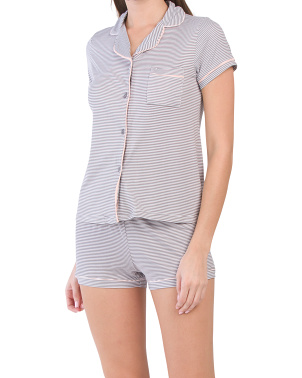 Tipped Striped Notch Shortie Pj Set